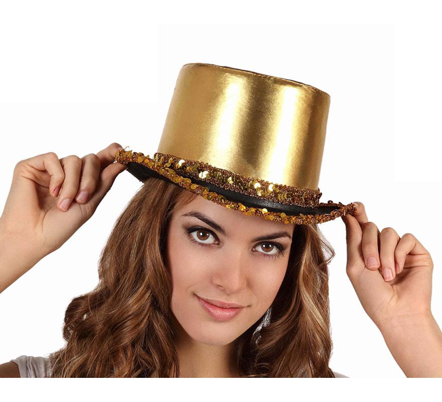 Sombrero de copa o Chistera con Lentejuelas dorada