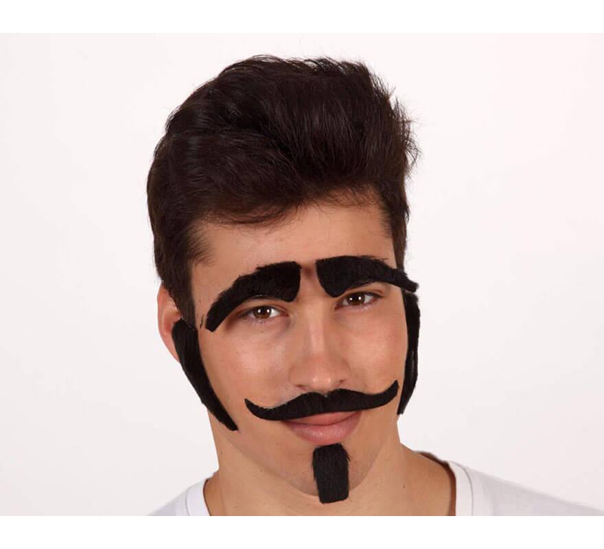 Set de Moustache, Bouc, Favoris et Sourcils Noirs