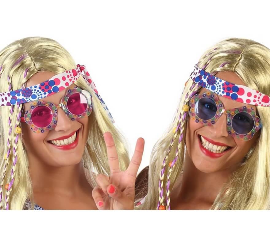 e9d59d1377 Gafas Hippie con Flores en 2 colores surtidos