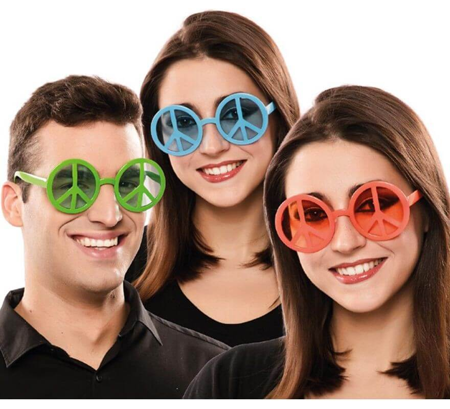 72338e876d Gafas Hippie de la Paz en 3 colores surtidos