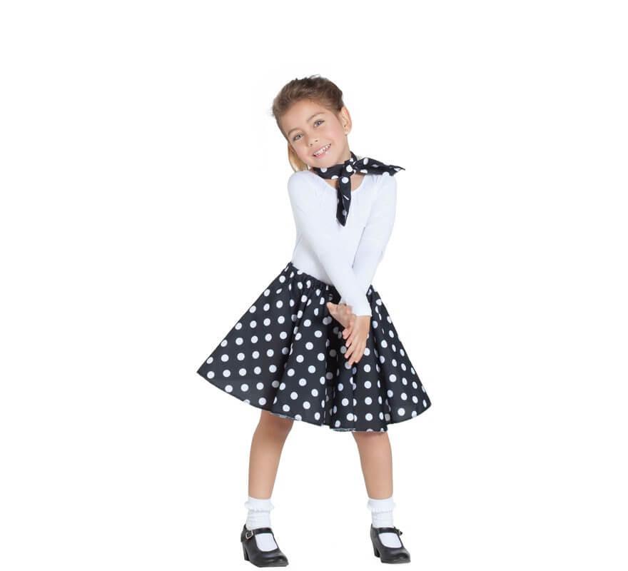 1551e5733 Kit de Chica Pin Up Negro para niña: Falda y Pañuelo