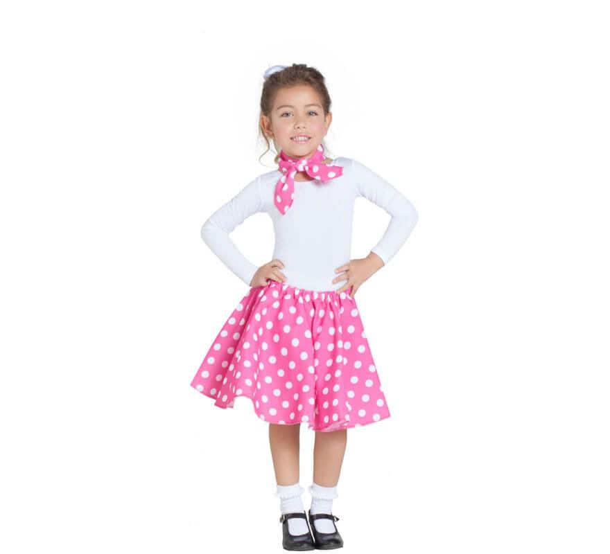 d225ba3bd7c5 Kit de Chica Pin Up Rosa para niña: Falda y Pañuelo