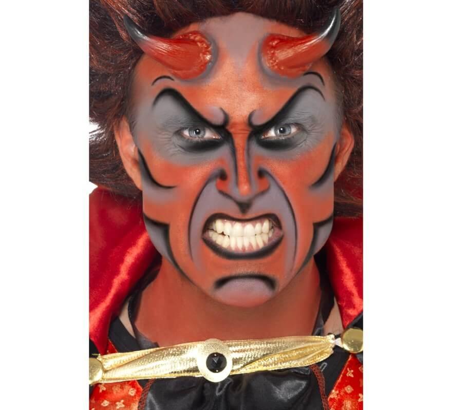 kit de maquillaje demonio pinturas cuernos y esponja sin talla