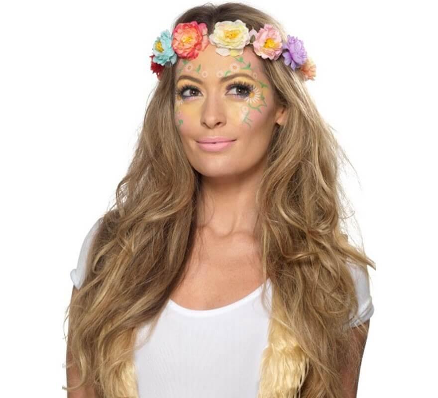 6b2905180 Kit de Maquillaje Hippie con 4 Colores, Esponja, Pincel y Pegatinas