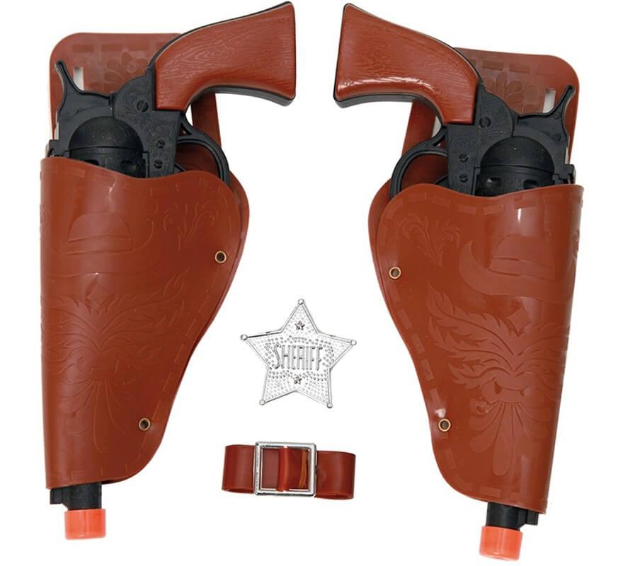 Kit De Sheriff 2 Pistolas Negras Cartucheras Cinturón Y Estrella