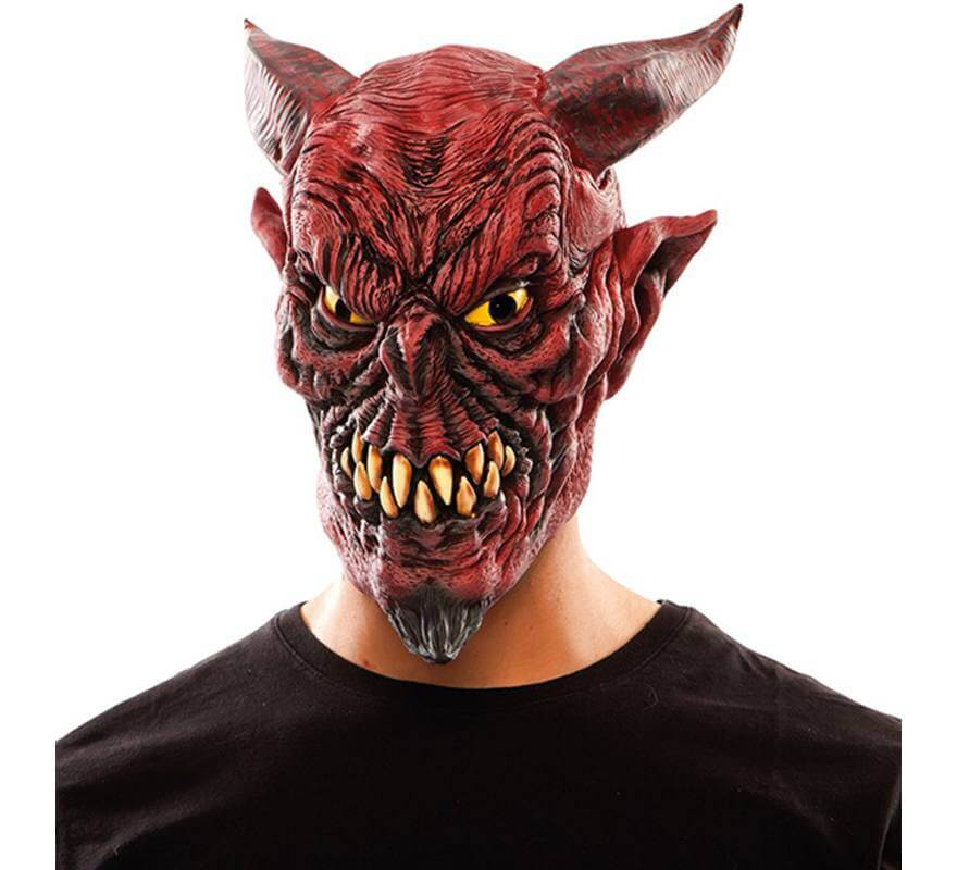 Maschera di Halloween Adulti Maschera di diavolo con corna staccabili Maschera di costume demone Orrore Maschera spaventosa Maschera Viso Costume operato Copricapo per Masquerade Cosplay Party