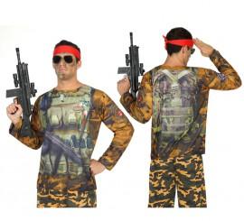 Camiseta disfraz de Soldado Camuflaje para hombre