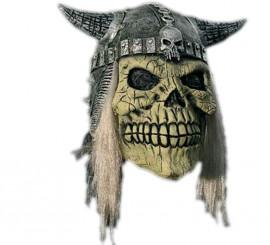 Careta Calavera con casco y pelo para Halloween