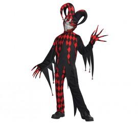 Disfraz Bufón demente para niños y adolescentes Halloween