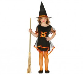 Disfraz de Brujita naranja para niñas