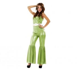 Disfraz de Chica de la Disco verde metalizado para mujer