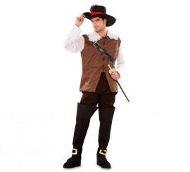 Disfraz de Dartañan marrón para hombre talla M-L