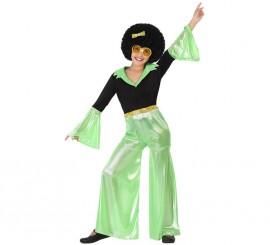 Disfraz de Disco Girl verde para niña