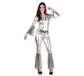 Disfraz de Diva de la Disco plata para mujer