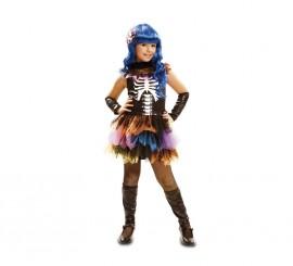 Disfraz de Esqueleto Arco Iris para niñas para Halloween