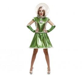 Disfraz de Galáctica verde para mujer