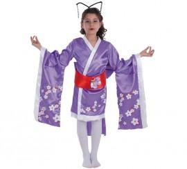 Disfraz de Geisha con flores para niña