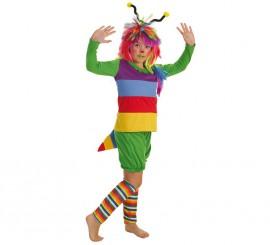 Disfraz de Gusanita con peluca para niña