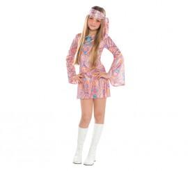 Disfraz de hippie disco para niñas adolescentes