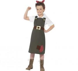 Disfraz Trabajadora de fábrica años 40 para niña