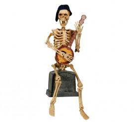 Esqueleto tocando banjo con luz, sonido y movimiento de 31 cm