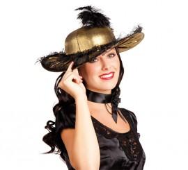 Sombrero o Pamela de Baronesa dorado con pluma