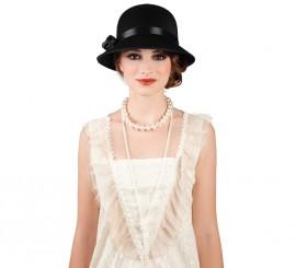 Sombrero de Charlestón Dama negro con flor
