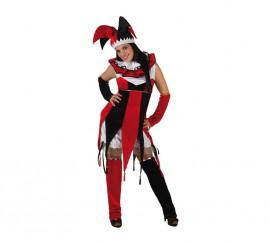 Disfraz de Bufón rojo y negro para mujer talla M-L