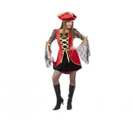 Disfraz de Pirata Sexy rojo y negro para mujer M-L