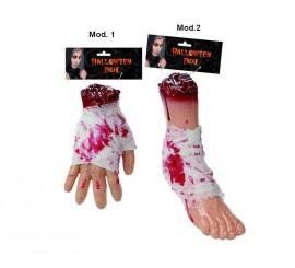 Mano o Pie cortado con sangre para decorar en Halloween