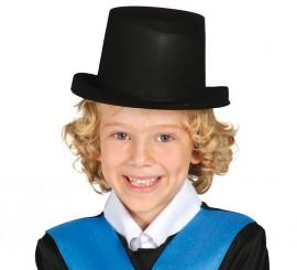 Sombrero Chistera flocado negro para niños