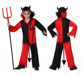 Disfraz de Diablo rojo y negro para niños