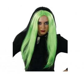 Peluca larga de Bruja negra y verde