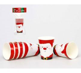 Set de 6 Vasos de Papa Noel de cartón de 6 cm