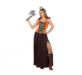 Disfraz de Vikinga marrón y naranja para mujer