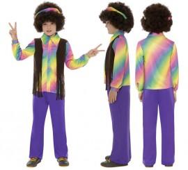 Disfraz de Hippy Multicolor para Niño