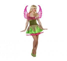 Disfraz de Hada Primavera verde y fucsia de mujer