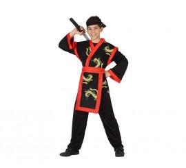 Disfraz de Samurai Dragón rojo y negro para niño