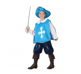 Disfraz de Mosquetero azul claro para niños