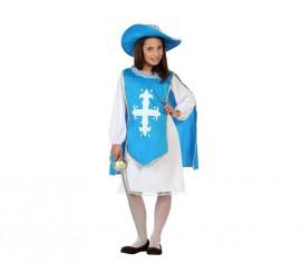 Disfraz de Mosquetera azul claro para niñas