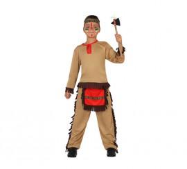 Disfraz para niños de Indio marrón y rojo