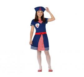 Disfraz de Marinera azul con ancla para niña