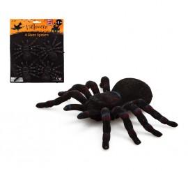 Blister de 4 Tarántulas para decorar en Halloween