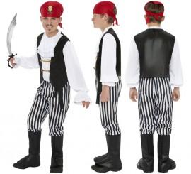 Disfraz de Pirata blanco y negro para Niño