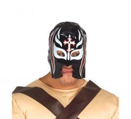 Máscara de Lucha Libre Negra con Cruz