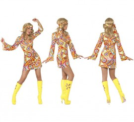 Disfraz Hippy Multicolor para Mujer