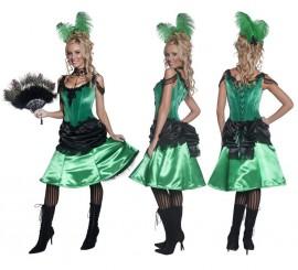 Disfraz Chica de Saloon Verde y Negro para mujer