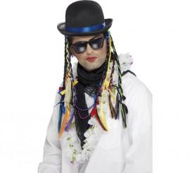 Sombrero Bombín de Boy George con trenzas multicolor