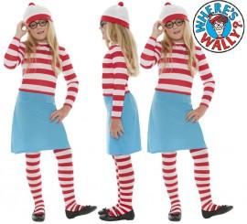 Disfraz de Dónde está Wally: Wenda para Niña