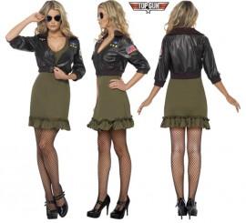 Disfraz de Top Gun con chaqueta sexy para mujer